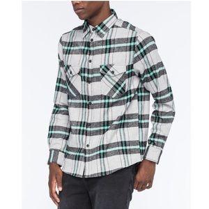 ELXR Men's Ensenada Gray Plaid Flannel Shirt